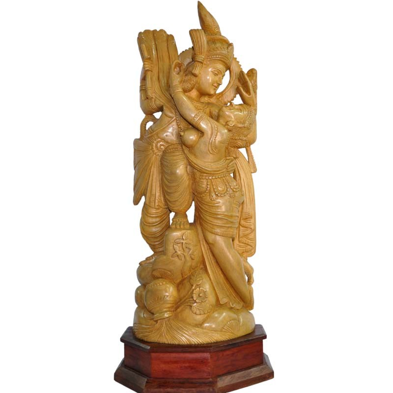 Radha Krishna Wood Idol