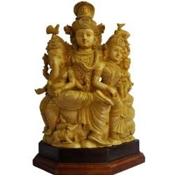 Shiva, Parvathi, Ganesha Wood Statue