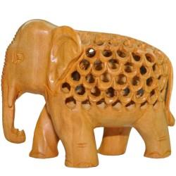 Under-Cut Elephant Wooden Statue
