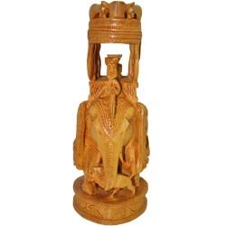 Ambari Elephant Wooden Statue