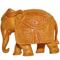 Carving Elephant Wooden Statue