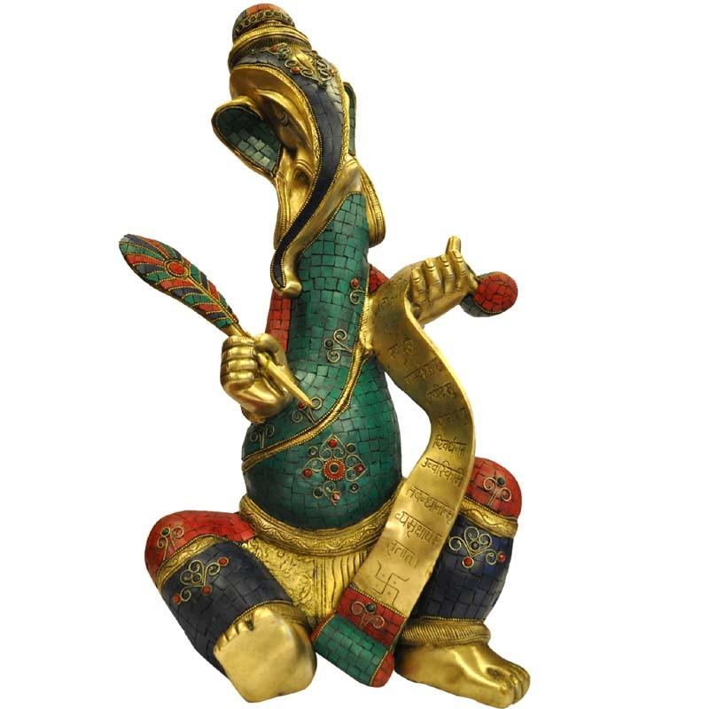 Fancy Ganesha coral Stone Brass Idol
