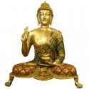 Buddha Blessing Coral Stone Brass Idol