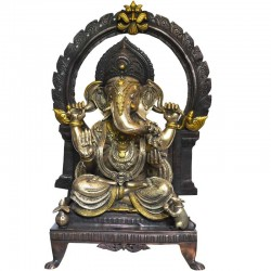Ganesha With Prabhavali Brass Idol
