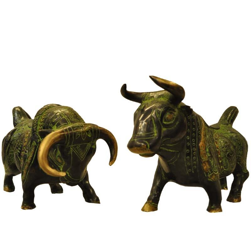 Bull Pair Brass Statue