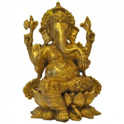 Lord Ganesh Brass Idol sitting on a Lotus