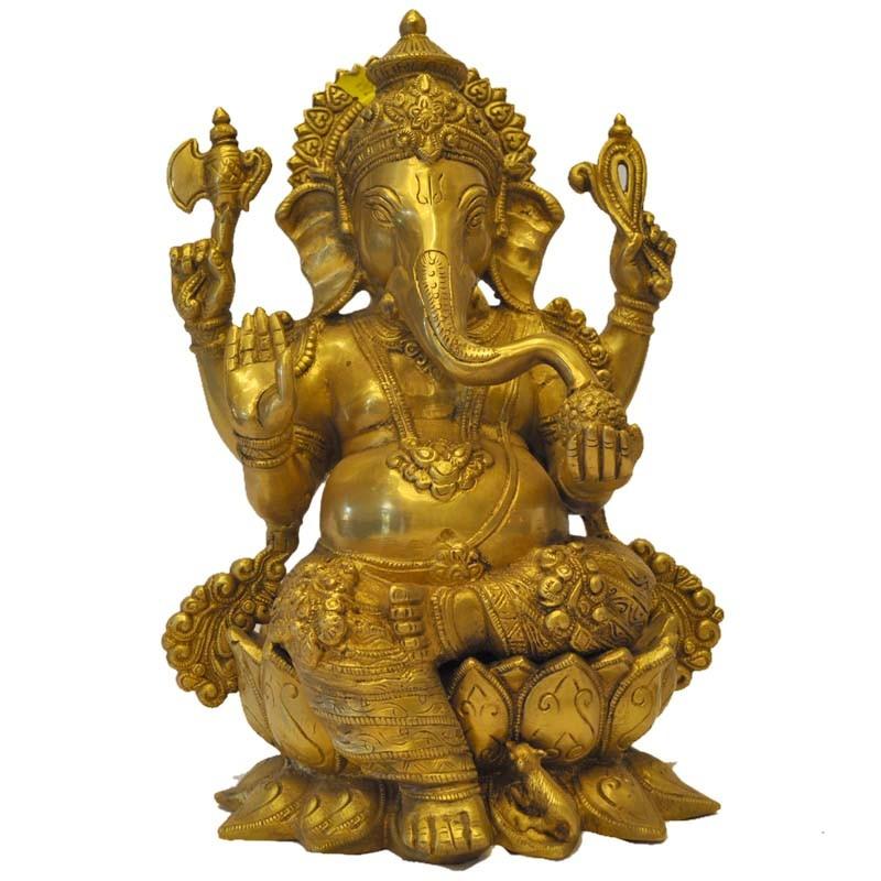 Lord Ganesh Brass Idol sitting on a Lotus