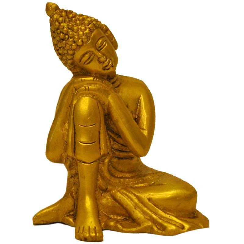 Buddha in Thoughts brass statue
