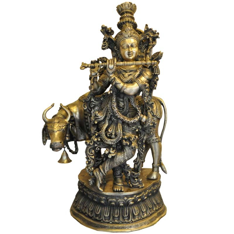 Krishna With Cow Brass Statue
