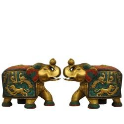 Elephant Pair Brass Statue