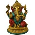 Lord Ganesha In Multi Color Brass Idol