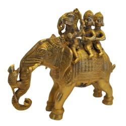 Ganesha With Sidhi & Budhi Sitting on Elephant Brass Statue