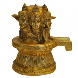 Shivling with 3 Face Shiva Brass Idol