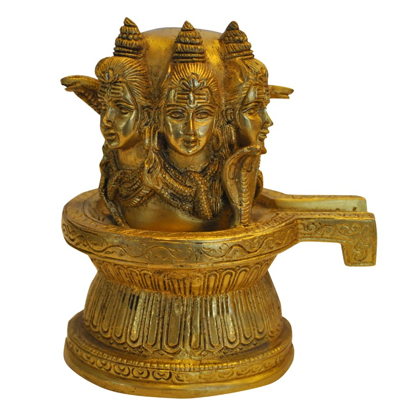 Shivling with 3 Face Shiva Brass Idol