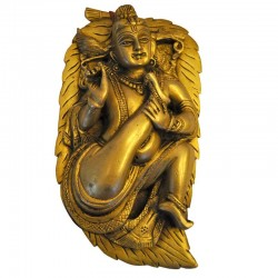 Wall Hanging Krishna on Leaf Brass Idol