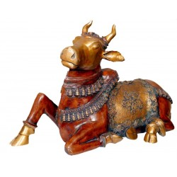 Antique finish copper color Nandi brass idols online