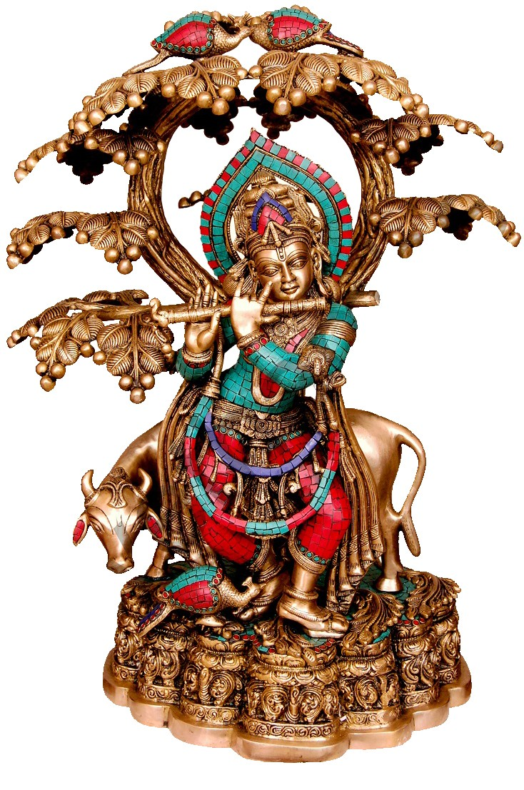 Coral Krishna With Peacock & Cow Under Tree