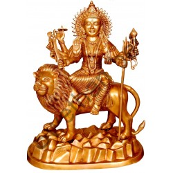 Maa Durga sitting On Lion Brass Statue