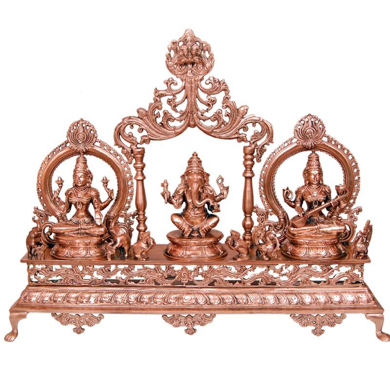Blessing Ganesha, Lakshmi, Saraswathi in peeta Prabhavalli