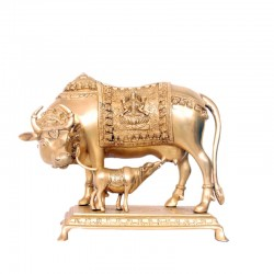 Cow & Calf Brass Idol