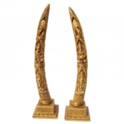 Designed Ganesha In Elephant Tusks Brass