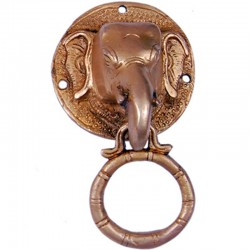 Brass Elephant Face Door Knocker