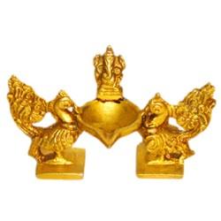 Peacock Deepa with Ganesha