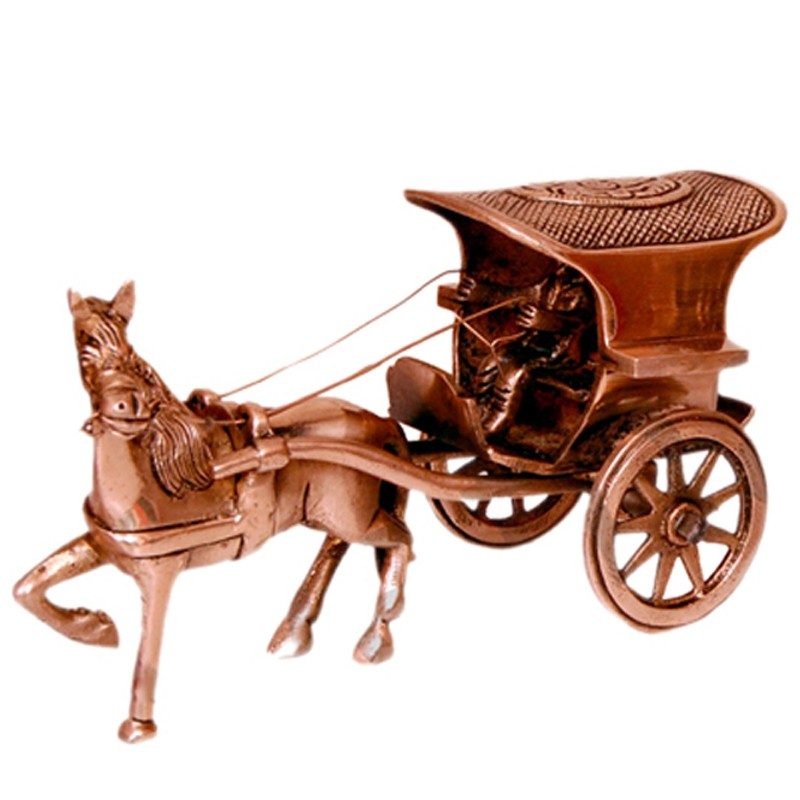 Designed Brass Horse Cart