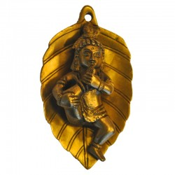 Krishna on Leaf Wall Hanging