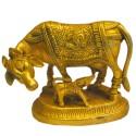Cow & Calf Brass Statue