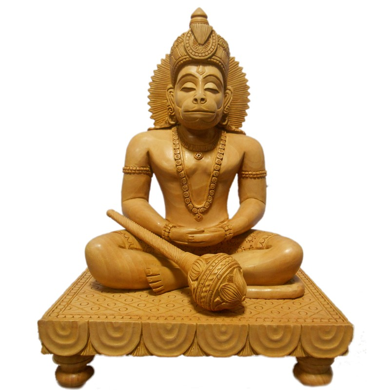 Lord Anjaneya Wooden Idol