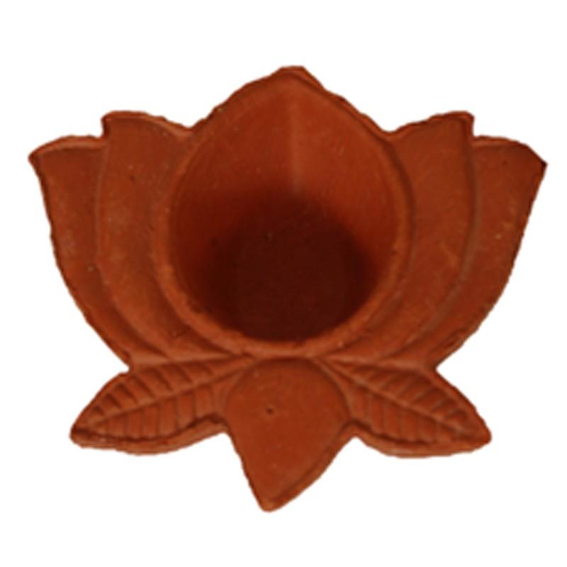 Lotus Shape Ceramic Red Diya
