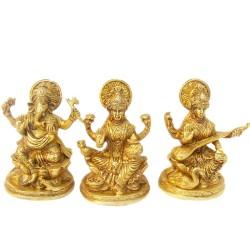 Ganesha Lakshmi & Saraswathi Brass Idol