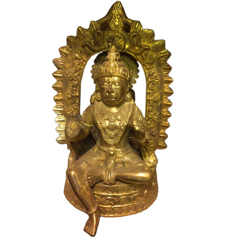 Sitting Hanuman Brass Idol