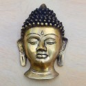 Buddha Bust size wall hanging 7.5 inches height brass figurine