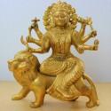 Charming Durga Devi on lion blessing brass Idol