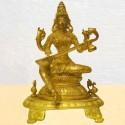 Saraswati Sitting on Peeta Brass Idol