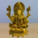 Blessing Ganesha on Lotus flower brass statue