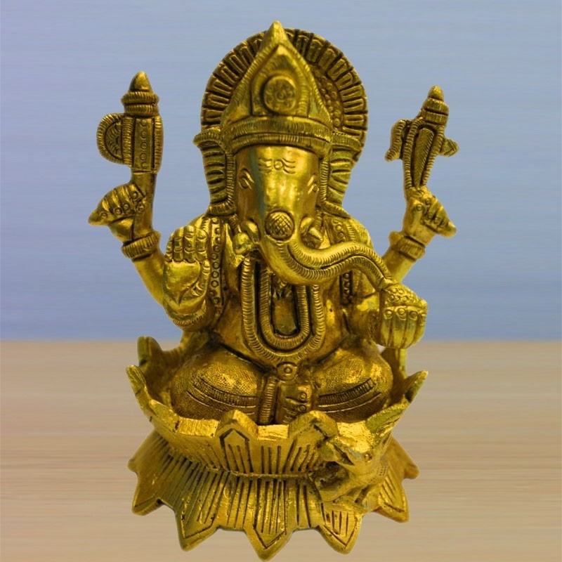 Blessing Ganesha On Lotus