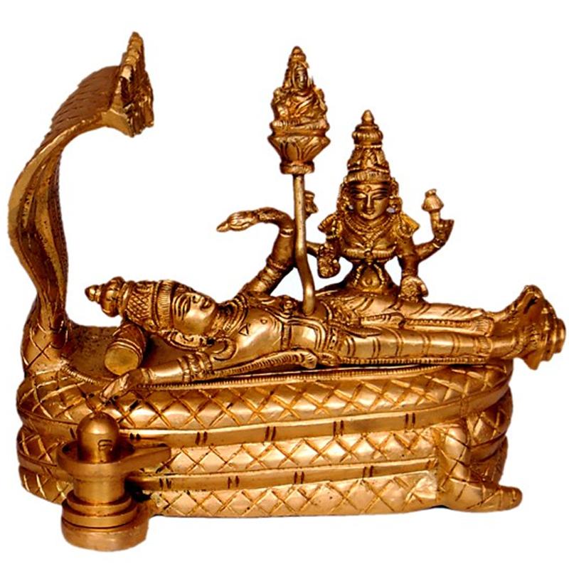 Lakshmi Narayana with Shiva Linga Brass Statue