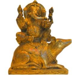Ganesha sitting on Mouse Brass Statue