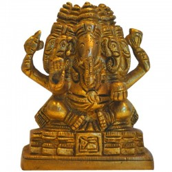 5 Headed Ganesha Sitting On Peeta Brass Idol