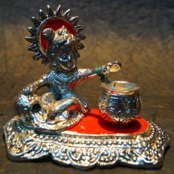 Bal Krishna playing with cheese Aluminium idol