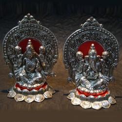 Lakshmi Ganesh idols with prabhavali Aluminium Idol