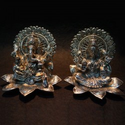 Ganesha and Lakshmi Sitting on Lotus