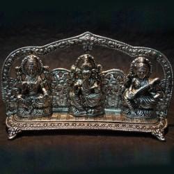 Aluminium Lakshmi Ganesha Saraswathi sitting on peeta