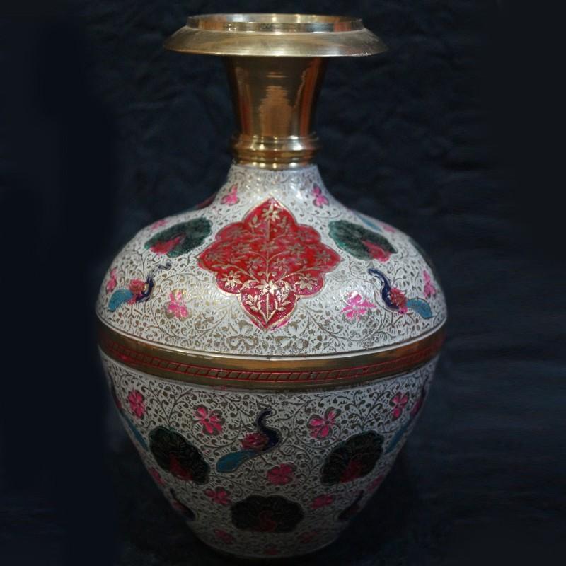 Brass Flower Vase With Red Flowers Painted On Top Puja Sanskaram