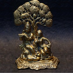 Radha Krishna sitting under tree aluminium idol