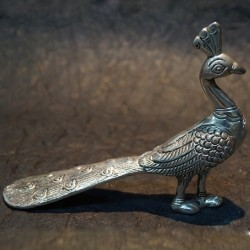 Beautifully crafted peacock aluminium idol