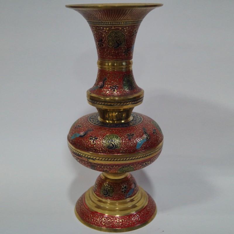 Brass Flower Vase Moulded Into Jar Shape Puja Sanskaram